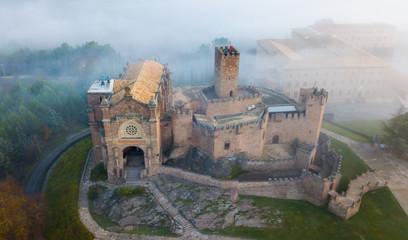 Foto auf Leinwand Befestigung Famous fortress Castillo de Javier in the early morning. Navarre. Aragon. Spain