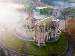 Famous fortress Castillo de Javier in the early morning. Navarre. Aragon. Spain