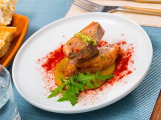 Plate of appetizing duck fillet