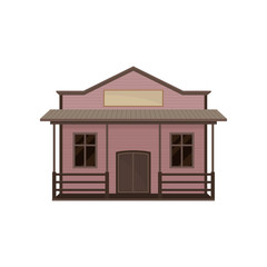 Small western house with porch and blank signboard. Old wild west saloon. Wooden building. Flat vector icon