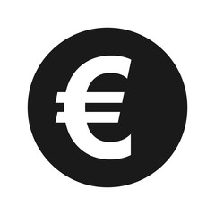 Euro sign icon flat black round button vector illustration