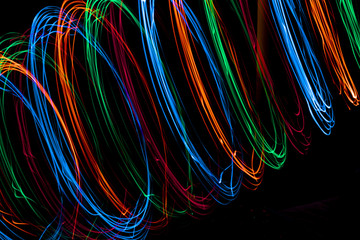 Long Exposure of Fairy Lights on black background