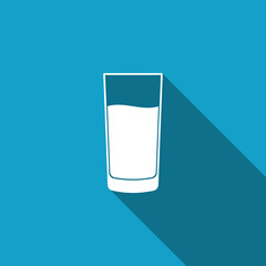 Glass with water icon isolated with long shadow. Soda glass. Flat design. Vector Illustration