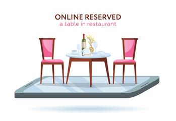 Vector 3d restaurant online booking concept. Smartphone with served table and 2 elegant chairs. Red wine bottle, tray, glasses, plates and vase. Flat cartoon vector illustration on white background