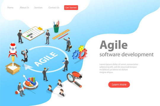 Flat isometric vector landing page of agile software development, product design methodology.