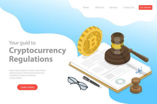 Isometric flat vector landing page template of regulation of cryptocurrency, digital currency legislation, legislative control.