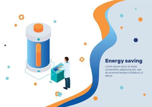 Energy storage. Isometric Concept.