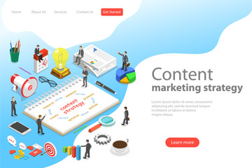 Isometric flat vector landing page template of content marketing strategy, customer engagement, blogging and vlogging, social media sharing.