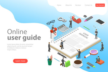 Isometric flat vector landing page template of user manual, guide, operating instractions, requirements and specifications document.