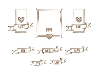 Set of decorative vintage frames with hearts and flags. Elements for Valentine's Day, birthday, wedding. Doodles, sketch for your design. Vector illustration.