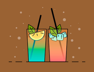 Shakes illustration. Color picture - Vektorgrafik. Shakes icon . Flat illustration cocktails with fruit, lemon and ice-cubes.