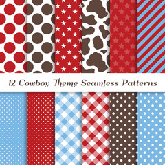 Red, Baby Blue, White and Brown Cowboy Theme Vector Patterns with Cow Skin Print and Stars, Stripes, Gingham and Polka Dots. Kids Birthday Party Backdrop. Seamless Pattern Tile Swatches Included.