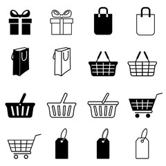 Set of shopping icons. Gift box, bag, shopping basket, supermarket cart and price tag. Vector Illustration