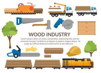 Timber Sawmill woodcutter lumber or hardwood set flat elements