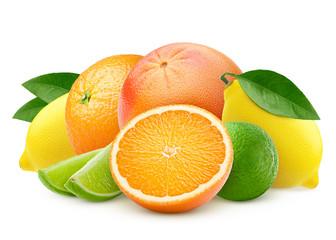 citrus, mix, lemon, orange, lime, grapefruit isolated on white background, clipping path, full depth of field
