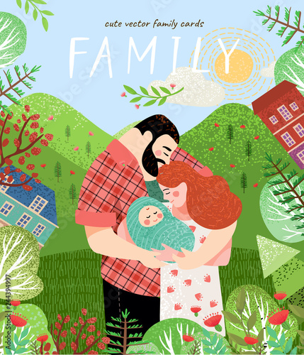 happy family  Cute vector poster, card or cover with an