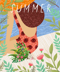 Hello summer! cute vector illustration of a woman in a bathing suit and hat on a pier in a frame of flowers and leaves, sea picture
