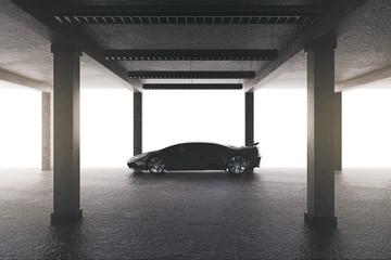 Spacious garage with car