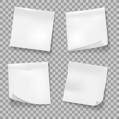 Post sticky notes. White memo reminder papers isolated vector, business office blank paper note stickies isolated on white background
