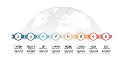 Business infographics. Timeline with 8 steps, options, circles. Vector template.