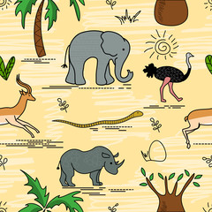 African animals and plants. Safari animals seamless pattern