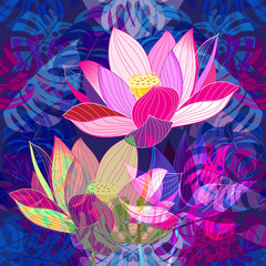Vibrant pink lotus design on a tropical plant