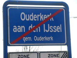 Sign end of urban area of Ouderkerk aan den Ijssel which is part of the municipality Krimpenerwaard.