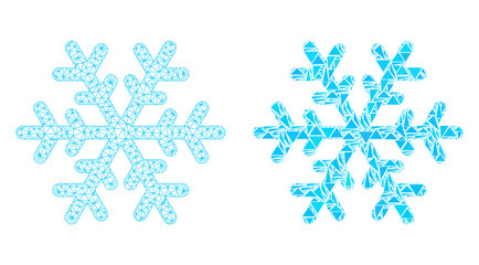 Mesh vector snowflake with flat mosaic icon isolated on a white background. Abstract lines, triangles, and points forms snowflake icons. Wire carcass 2D polygonal linear mesh in vector format,