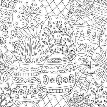 Abstract seamless pattern with hand drawn doodles easter eggs