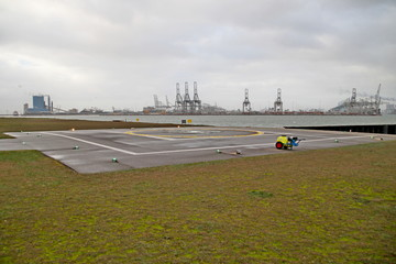 office and helicopter platform for pilots and the coast guard in the Europoort harbor in the Port of Rotterdam