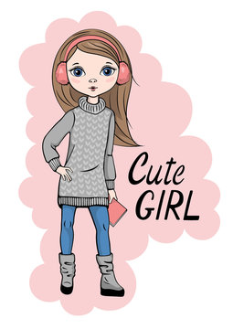 Hand drawn beautiful cute little girl in girl in sweater and leggings. Vector illustration in vector style