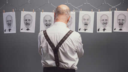 Senior businessman and his multiple personalities
