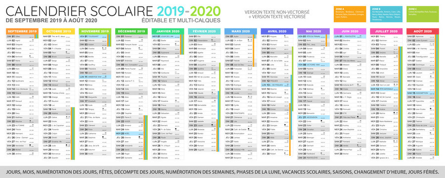 Calendrier scolaire 2019 - 2020