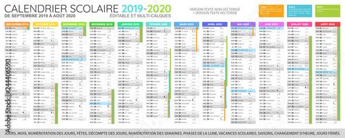 Calendrier Des Vacances Scolaires 2020.Vacances Scolaires 2019 Et 2020 France Calendrier Des