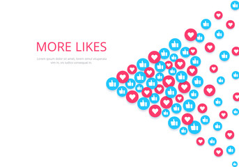 flat image on a white background, round icons with likes and hearts, social networks and the Internet
