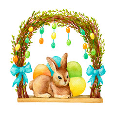 Happy easter decor - a cute brown rabbit with colored eggs under the frame of wicker spring twigs. Hand drawn watercolor painting illustration isolated on white background.