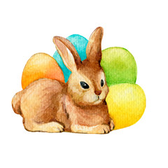 Happy easter decor - a cute brown rabbit with colored eggs. Hand drawn watercolor painting illustration isolated on white background.