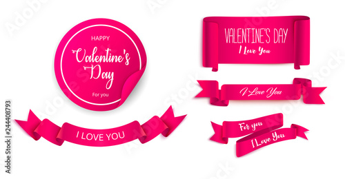 d472e3cf89d Set of pink festive ribbons and stickers for St. Valentine s Day design.