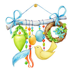 Happy easter - decorated twig with a cute bird, colored eggs, flowers, heart, wreath of wicker spring twigs and beads. Hand drawn watercolor painting illustration isolated on white background.