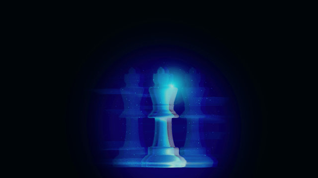 Futuristic digital chess game concept of innovation strategy thinking and planning for future business transformation evolution management in disruption competitive world