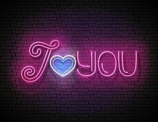 Vintage Glow Signboard with I Love You Inscription