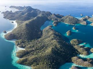 Aerial View of Tropical Limestone Islands in Wayag, Raja Ampat