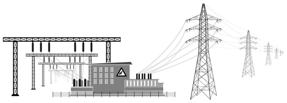 Electrical substation with high voltage lines. Transmission and reduction of electrical energy.
