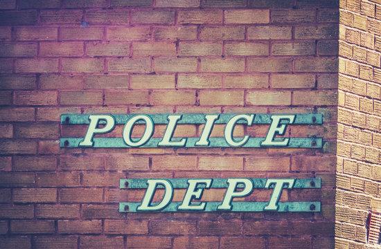 Retro Police Department Sign