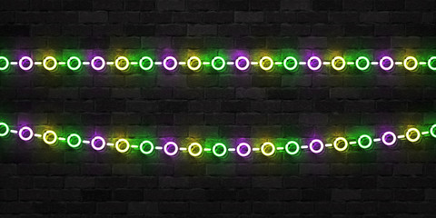 Vector realistic isolated neon sign of Mardi Gras beads logo for template decoration and covering on the wall background.
