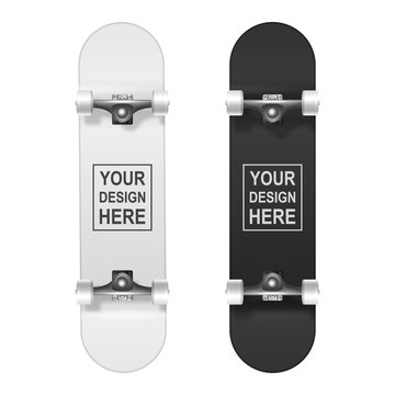 Skateboarding. Vector Realistic 3d White and Black Blank Skateboard Icon Set Closeup Isolated on White Background. Design Template of Skate Board Showing the Bottom for Mockup. Top view