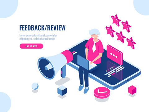 A person leaves a review of the company using a mobile application on a smartphone, concept feedback, five stars, good review, cartoon flat vector illustration