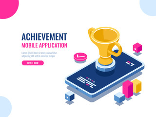 Achievement in education process isometric, mobile phone with golden cup, winner smartphone game, business success result of year, cartoon