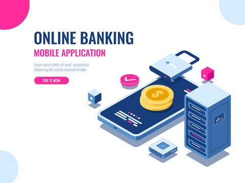 Safety of money on internet, protected transaction payment, mobile application online bank, blockchain technology, cryptocurrency, server room database, coin vector