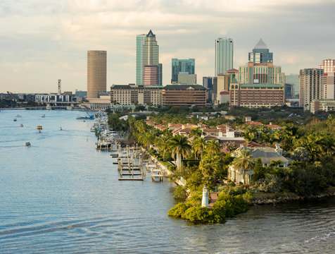 View of downtown Tampa, Florida from the harbor.
